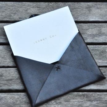 Porte carte ORIGAMI, cuir noir