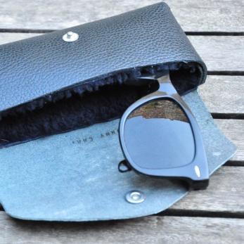 Etuis à lunettes LEON, cuir grainé noir