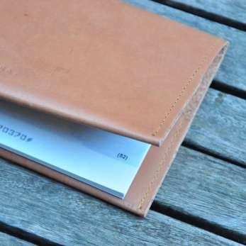 Checkbook holder NICOLAS, brown leather