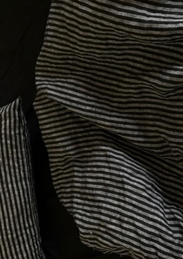 Duvet cover, dark stripes linen
