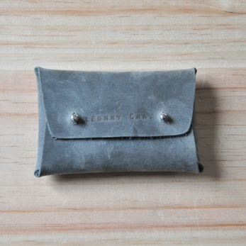 Card holder LOUP, taupe leather