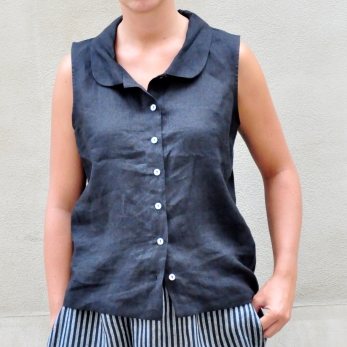 Sleeveless shirt, black linen