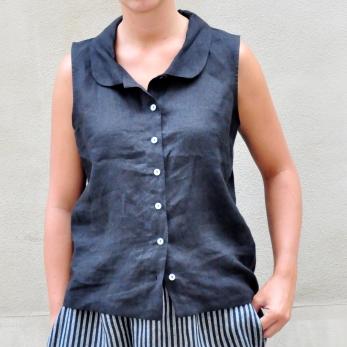 Sleeveless shirt, black linen