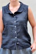 Chemise sans manche, lin noir