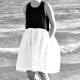 Robe à plis sans manches bicolore, lin noir et blanc