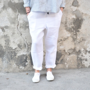 Pantalon à poches, lin épais blanc