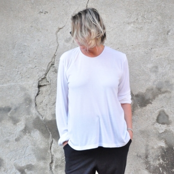Blouse manches longues, bambou blanc