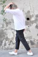 Blouse manches longues, bambou blanc