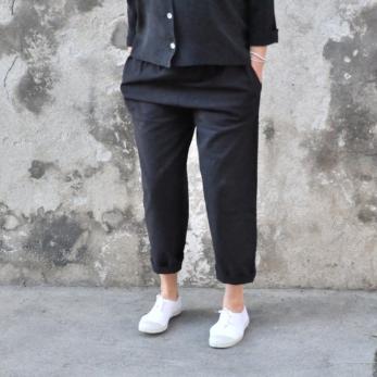 Pantalon classique, coton noir