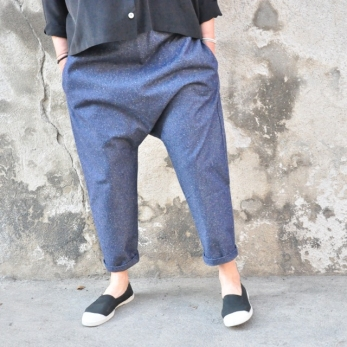 Saroual trousers, blue jean