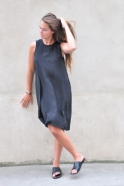 Flared dress, sleeveless, black silk