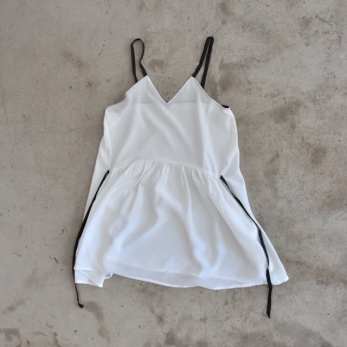 Sleeveless tunic, white silk