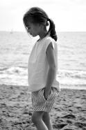Uniform short sleeves blouse, white linen