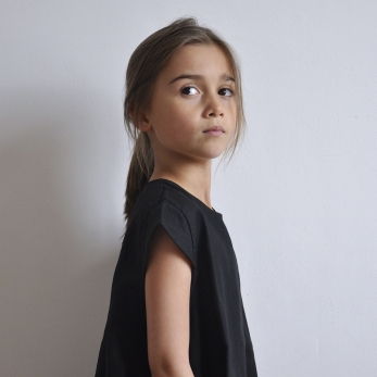 Uniform short sleeves blouse, black linen