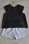 Uniform short sleeves blouse, black linen
