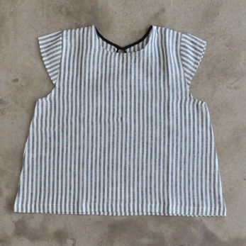 Uniform short sleeves blouse, light stripes linen
