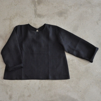 Uniform blouse, black linen