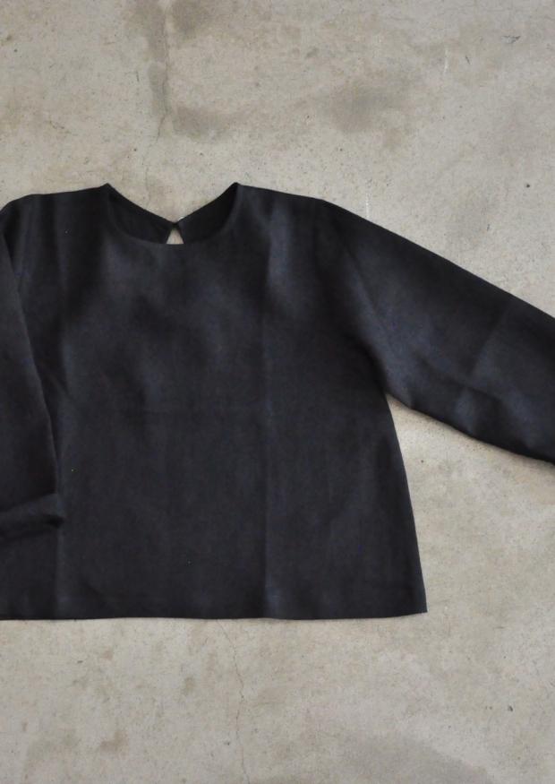 Blouse Uniforme, lin noir