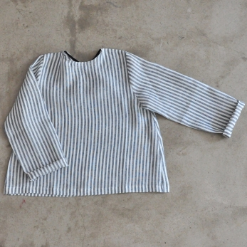 Uniform long sleeves blouse, light stripes linen
