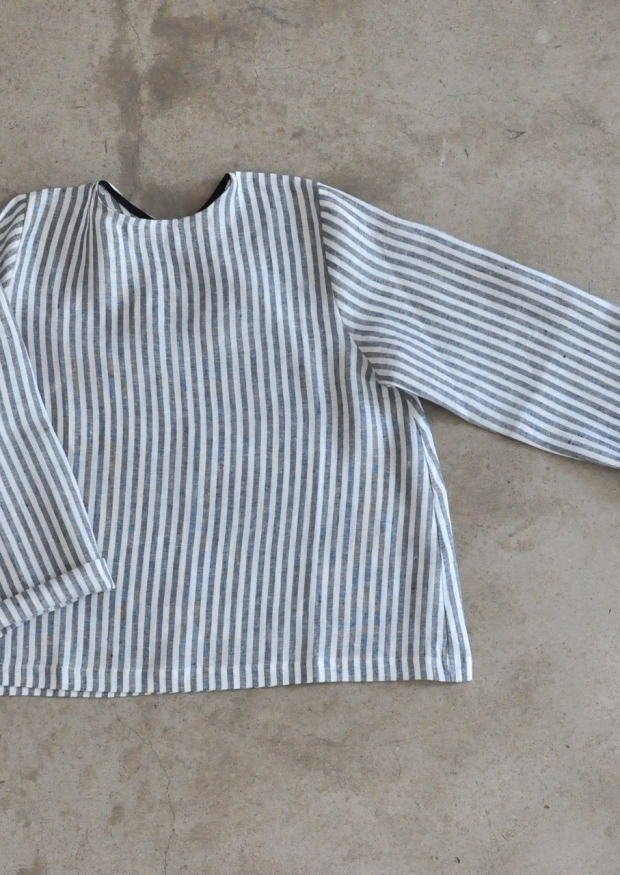 Blouse manches longues Uniforme, lin rayures claires