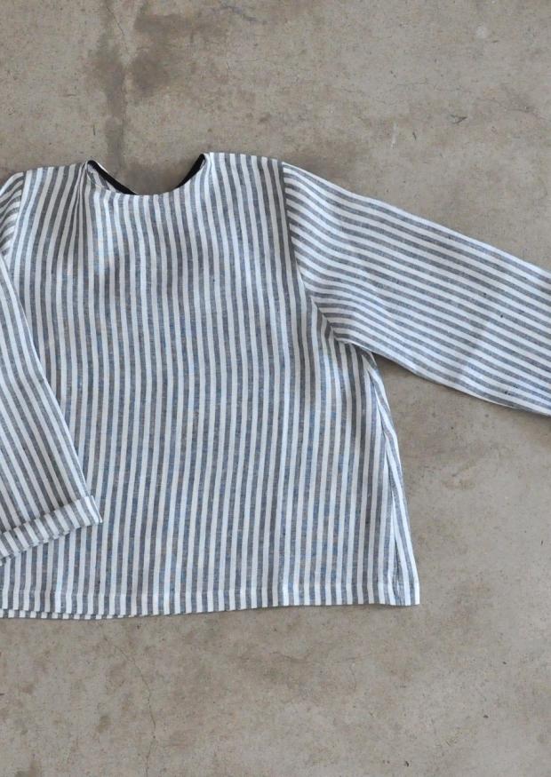 Uniform long sleeves blouse, light stripes linen