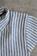 Uniform short sleeves shirt, light stripes linen