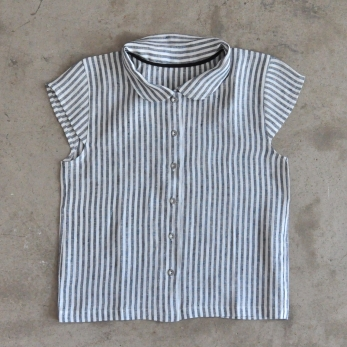 Uniform short sleeves shirt, light stripes linen