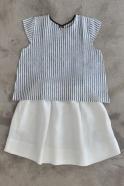 Skirt, white heavy linen