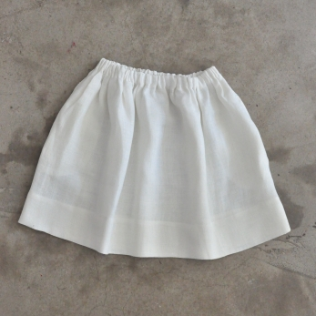 Skirt, white heavy linen