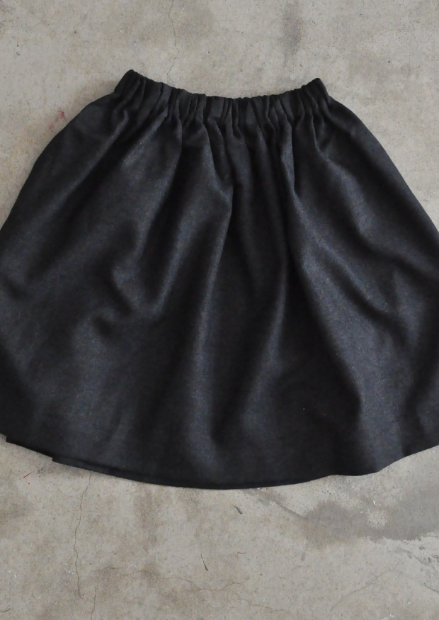 Skirt, dark grey woolblend