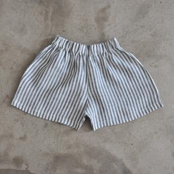 Short Uniforme, lin rayures claires