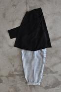 Pantalon Uniforme, lin rayures claires