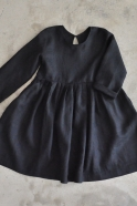 Robe à plis manches longues, lin noir