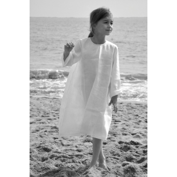 Uniform flared dress, white linen