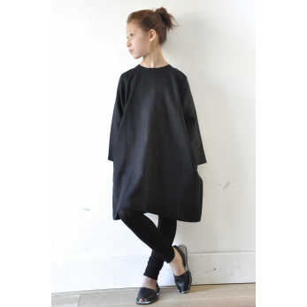 Uniform flared dress, black linen