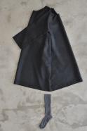 Flared dress, long sleeves, dark grey woolblend