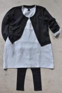 Flared dress, long sleeves, light stripes linen