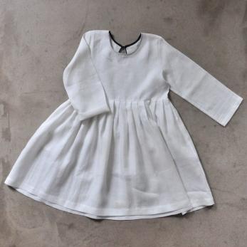 Robe à plis manches longues, lin blanc