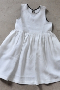 Uniform pleated dress, white linen
