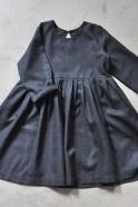 Pleated dress, long sleeves, dark grey woolblend