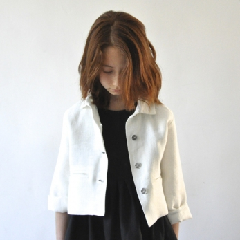 Uniform jacket, thick white linen