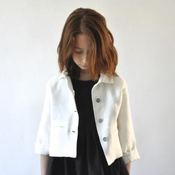 Veste Uniforme, lin épais blanc
