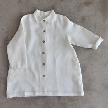 Coat, heavy white linen