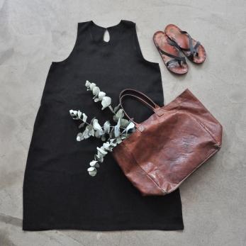 Flared dress, sleeveless, black linen