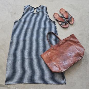 Flared dress, sleeveless, dark stripes linen