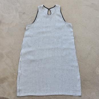 Flared dress, sleeveless, light stripes linen