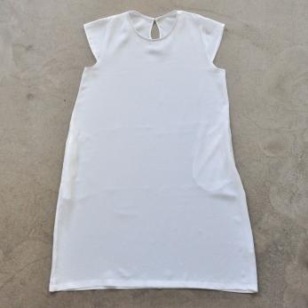 Flared dress, short sleeves, white silk