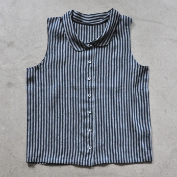 Chemise sans manche, lin rayures sombres