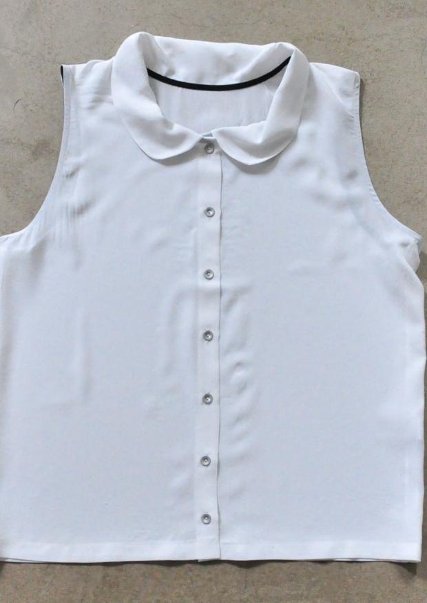 Chemise sans manche, soie blanche
