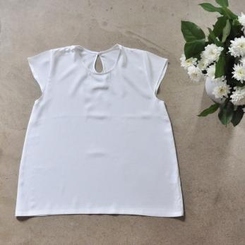 Blouse manches courtes, soie blanche